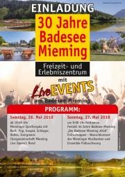"""""""30 Jahre Badesee Mieming"""" – Mit Live-Events, Sportgala und Jubiläumsfestakt"""