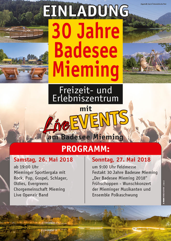 30 Jahre Badesee Mieming - Fest-Wochenende am 26. und 27. Mai 2018. Plakat: badesee-mieming.at