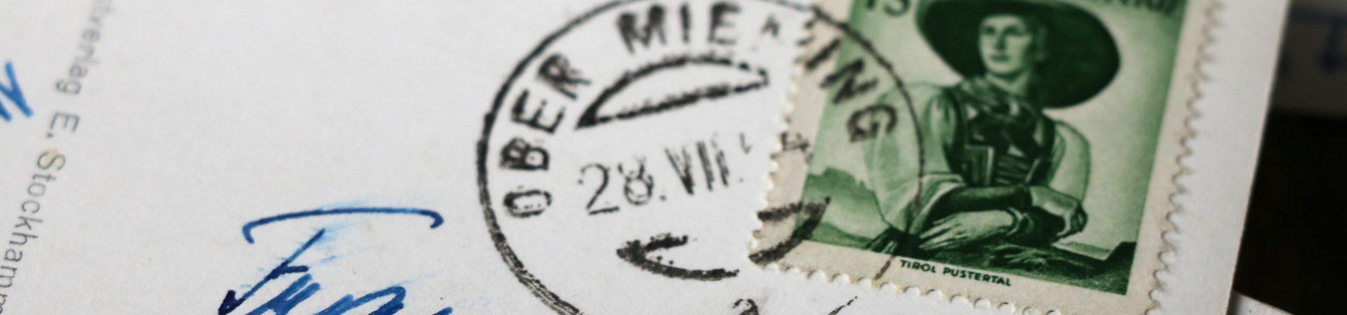 Kontakt - Historische Postkarte aus Mieming. Foto: Mieming.online